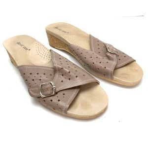 DAVID TATE Taupe Slides Sandals Leather Shoes  12
